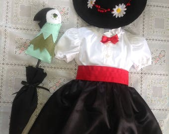 Mary Poppins! Costume comes with dress, hat, shirt, umbrella!65 and up. Coat sold separately Hat or umbrella  parrot head Sold separately.