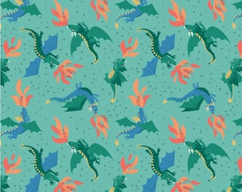 Flying Dragons on Jade, Lewis & Irene, Halloween Fabric, Fabric by the Yard, Boy Fabric, Holiday, quilters cotton, eye fabric
