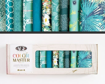 Art Gallery Fabrics, Color Master Collectors Box, Teal Thoughts, FREE SHIPPING, aqua fabric, blue fabric, modern blender, quilting bundle