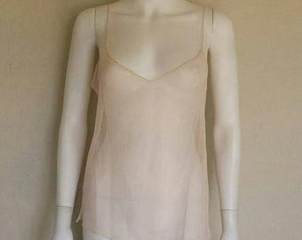25% off SALE Pale pink sheer cotton mesh camisole tank top - size large