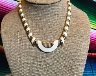 vintage 80s art deco  gold and white necklace