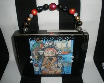 Gasparilla Pirate Cigar Box Purse, Cigar Box Handbag, Wooden, Authentic, Tampa