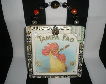 Tampa Fad Rooster Cigar Box Purse, Cigar Box Handbag, Authentic, Tampa