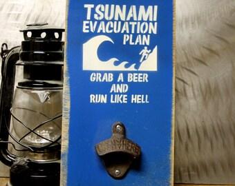 Tsunami Evacuation Plan Bottle opener