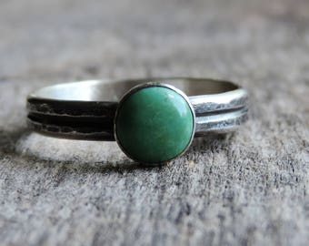 Turquoise & Sterling Silver Stacking Ring | Genuine Kingman Turquoise | Oxidized Patina, Hammered Double Band, Size 7.5, Ready to Ship