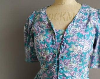 Vintage Laura Ashley Dress / blue floral Laura Ashley dress / 80s floral mom dress / boho cotton floral dress / pretty floral vintage dress