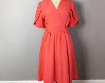 Vintage coral red wrap dress / 80s cross over dress / plain coral mid length dress / minimalist vintage /  50s style