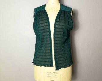 Vintage boho waistcoat / semi sheer green gilet / sheer sleeveless jacket / green polka  waistcoat / retro / arty vintage / crinkle fabric