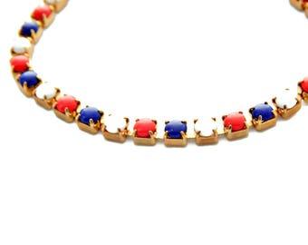 Red White Blue Bracelet Milk Glass Tennis Style