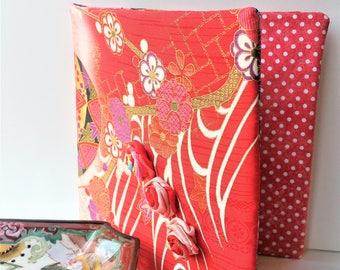 Fabric Folder Keepsake Organizer - Three Pocket Memory Book - Red Silk Fabric Notecard or Photo Holder - Gift For Her - Wedding Gift