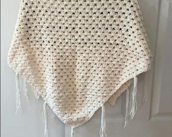 Cream Crochet Shawl / Open Poncho