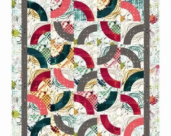 RJR Urban Artifacts Leslie Tucker Jenison Curvaceous Quilt Kit Modern Pink Green Blue Fabric 53 x 61