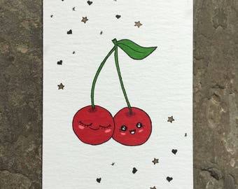 Cute cherries Kawaii Card, Handmade and Hand Drawn Card, anniversary, congratualtions, engagement, Food Lovers, and Cute People