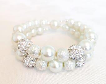 Pearl Bracelet, Bridesmaid Gift, Pearl Jewelry, Bridesmaid Bracelet, Ivory Pearl Bracelet, Wedding