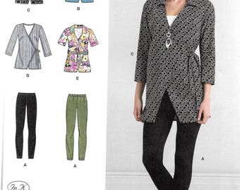 Simplicity Pattern 8261 WRAP TUNIC & Knit LEGGINGS Misses Sizes 6 8 10 12 14