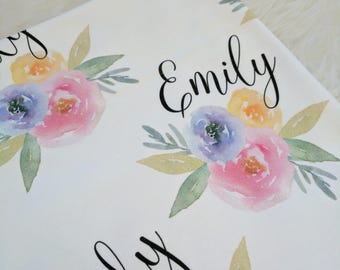 Personalized watercolor floral swaddle blanket: baby and toddler personalized name newborn hospital gift baby shower gift