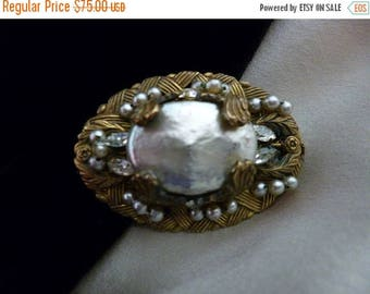 Christmas in July MIRIAM HASKELL Baroque Pearl Brooch or Pin, Gold Tone Prong Settings, Bride, Signed, Rhinestones, 60s