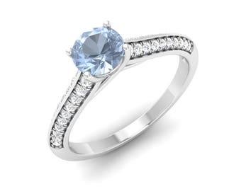 Natural Aquamarine Ring | Aquamarine Engagement Ring Diamond Solid 14K Gold | SI Diamond Engagement Ring | Certified Aquamarine & Diamond