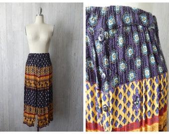 nelipot skirt | Women's Vintage 90s Bright Jewel Tone Colorful Paisley Boho Indian Print Long Crinkle Skirt // Size Small Medium