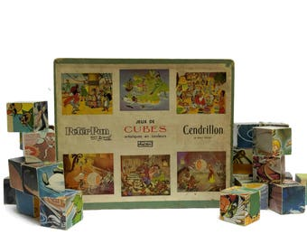 1950s Walt Disney Cinderella and Peter Pan Building Blocks Puzzle. French Vintage Wooden Toy. Cube Picture Puzzle.