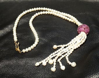 Pearl Tassel Necklace, Freshwater Pearls, Art Deco Flapper Style. 32 Inches Long