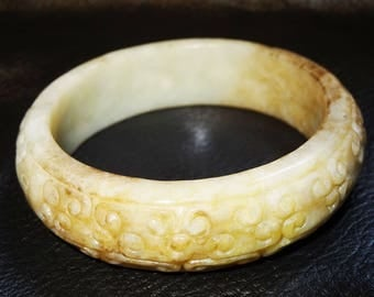 Antique Jade Bangle Carved Nephrite Cloud Pattern Qing Dynasty 1800s