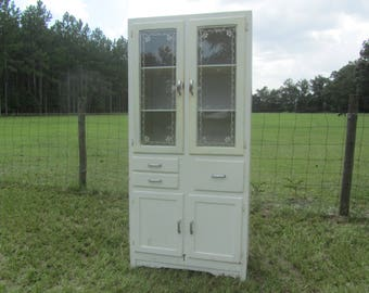 Antique kitchen cabinet, hutch, China cabinet, primitve, white, wood cabinet, farmhouse kitchen cabinet