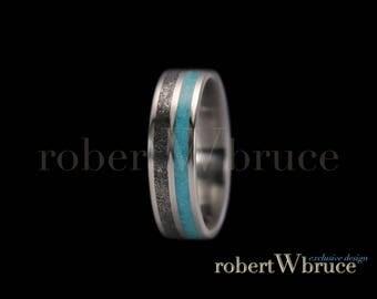 Meteorite & Genuine Turquoise Titanium Ring / Wedding Band - Exclusive rWb Custom Design