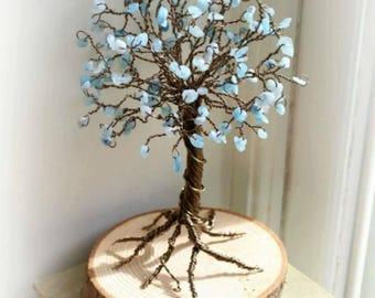 AquaMarine,March's birthstone ,wire sculpture,gemstone tree, chakra , woodland ,wire art ,uk artist,made to order