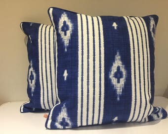 Ikat Moroccan themed Navy and White cushion/pillow