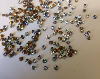 Vintage Iris rainbow glass rhinestones chaton jewels 3mm pointed back foiled -6 grams approx 120 pieces