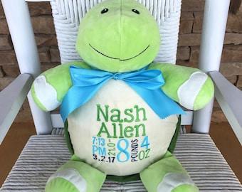 Personalized Turtle Stuffed Animal- Birth Stat stuffed animal- Newborn photo prop- Birthday Gift Idea- Baby Keepsake- New Baby Gift- Cubbies