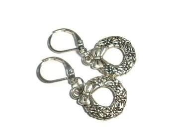 Wreath earrings lever back wreath holiday earrings silver earrings wreath holiday wreath christmas earrings winter earrings holiday wreath