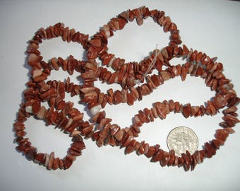 Red Jasper chip strand 34 strand 34 inch gemstone strand long gemstone strand red orange gemstone strand long strand gems jasper chip strand