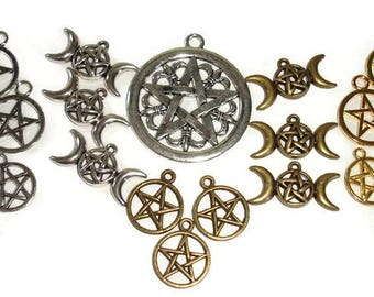 Pentacle charms 22pc Pentacle pendants pentagram charms pentagram pendants 22pc mixed pentagrams mixed pentacles pagan charms pagan pendant