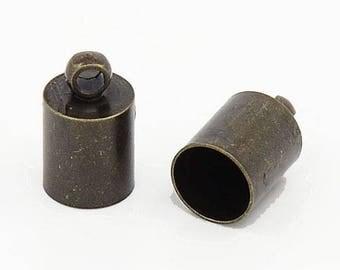 Cord end caps 10 x 6mm BRONZE round