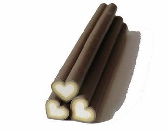 1 x heart brown/white polymer clay cane