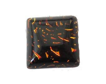 Orange handmade square Dichroic Glass 10 mm cabochon