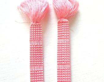 Vintage Japanese Silk Pink Obi Jime Kumihimo Cord K93