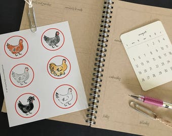Stickers; Chickens; journal stickers; bullet journal stickers; planner stickers; hand drawn
