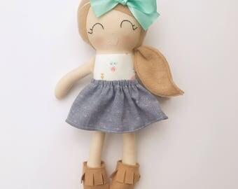 Cloth doll - fabric doll  - handmade doll - rag doll - girls room decor - girls toy - dress up doll - nursery decor - baby gift - heirloom
