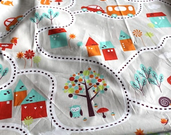 Fabric coupon roads 50 x 70 cm