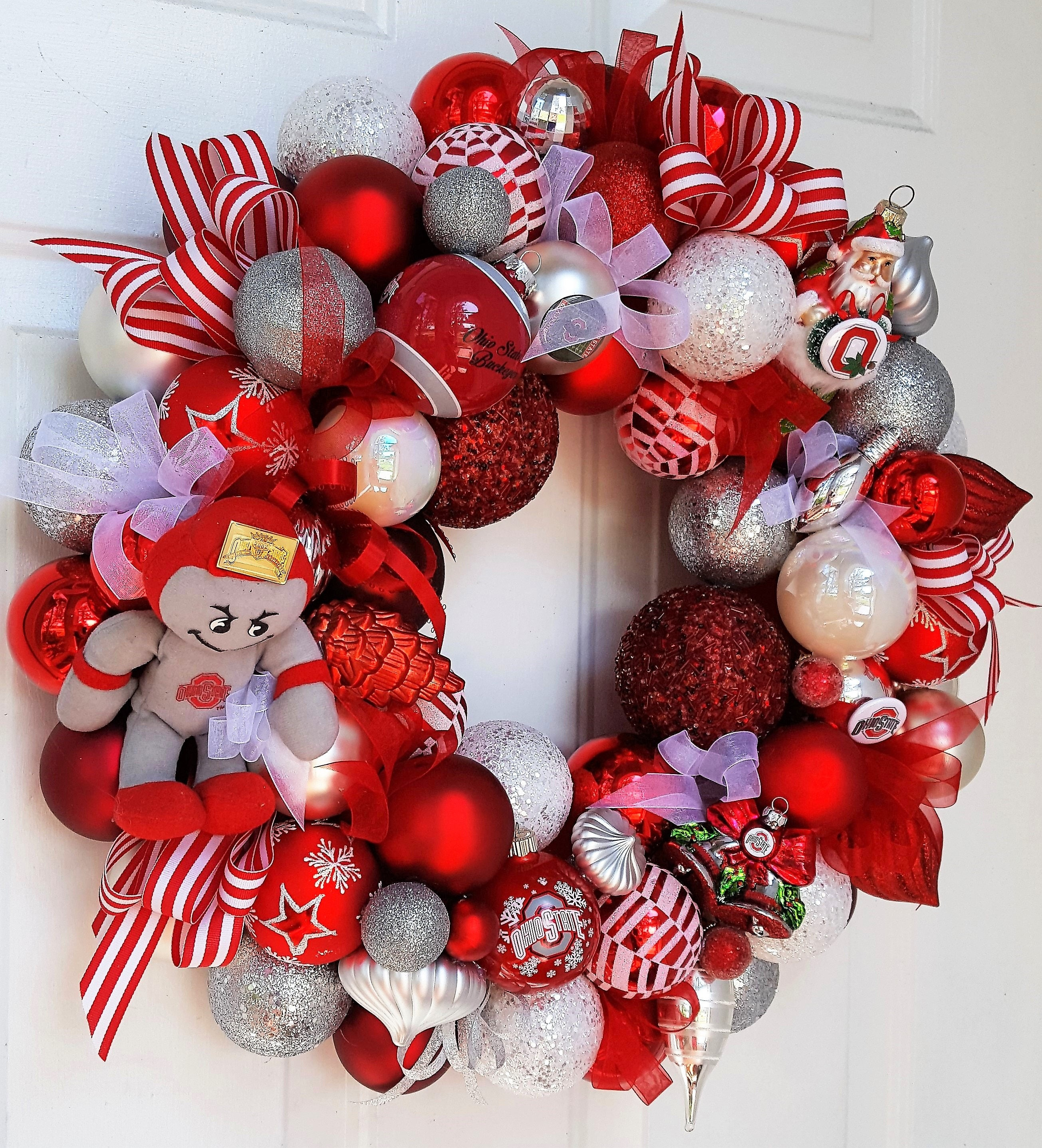 22 Collegiate Glass Ornament Wreath Christmas Football Holiday; Your ...
