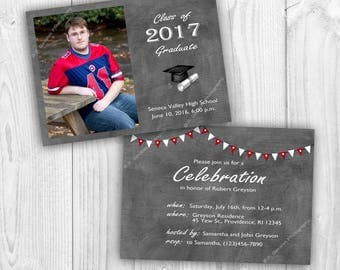 Instant Download Photoshop Template | Grad Party Invitation or Graduation Announcement | Double-Sided | Photo Card with Text and Banners