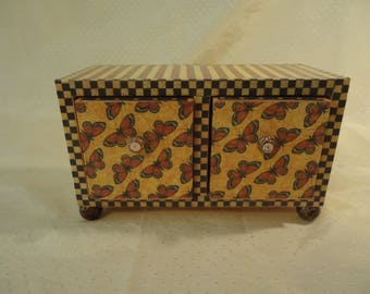 Butterfly and Poppy  2 Drawer Jewelry Chest