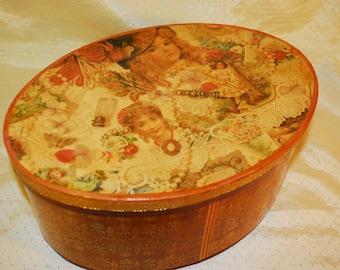 Victorian Large Oval Storage Box - Jewelry, Trinket, Keepsake