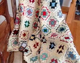 Cream Granny Squares crochet afghan