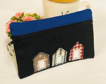 Beach houses canvas purse, Patchwork fabric coin purse, black and navy blue canvas mini zip wallet, applique coin purse