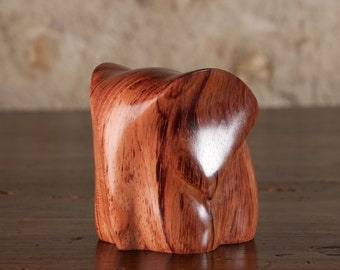 Small Wooden Elephant Sculpture Carved From Bubinga Wood by Perry Lancaster, Tactile Elephant Ornament Art
