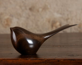 Chirping Black Bird Sculpture Carved from FSC African Ebony by Perry Lancaster, Long Tailed Tit Swallow Carving Figurine
